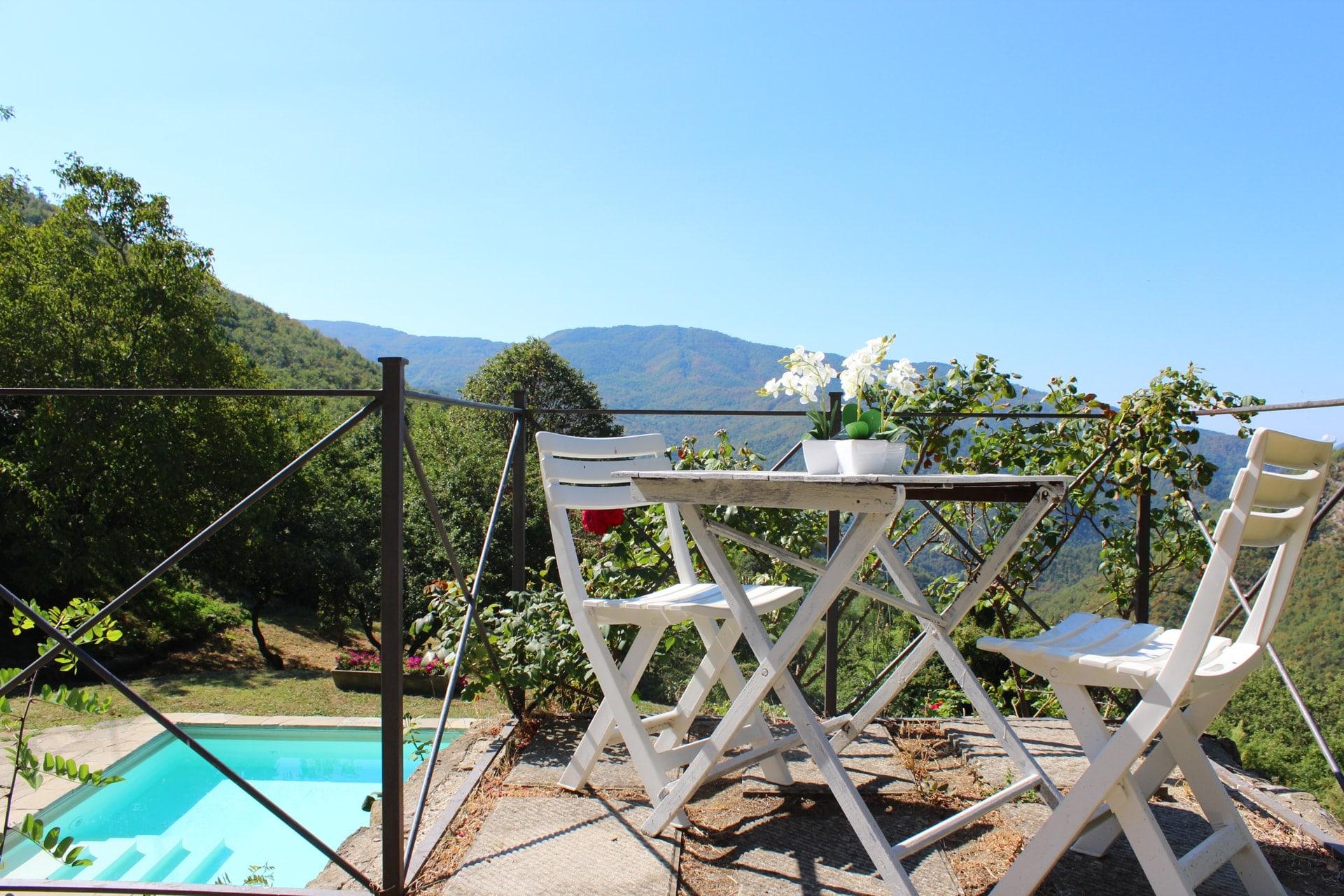 Vista dalla terrazza sulla piscina della Tenuta Mazzini
